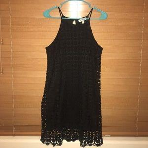 Black geometric textured print shift dress• Small